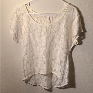 Xhilaration White Lace Short Sleeve Size Medium